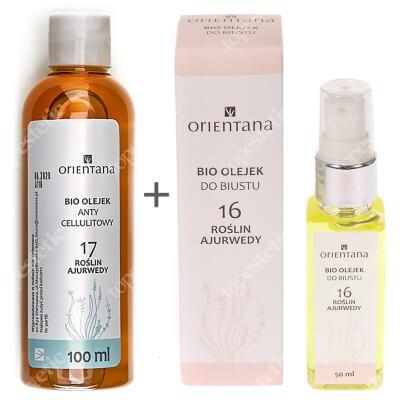 Orientana Anti Cellulite Bio Oil + Bust Body Oil ZESTAW Bio olejek antycellulitowy - 17 roślin ajurwedy 100 ml + Bio olejek do biustu - 16 roślin ajurwedy 50 ml