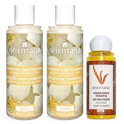 Orientana Pielęgnacja I Odżywienie Włosów Suchych Zniszczonych ZESTAW Ajurwedyjski szampon i odżywka do włosów 2 x 210 ml + Kokosowa terapia do włosów 105 ml