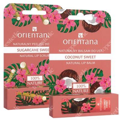 Orientana Sweet Box ZESTAW Naturalny peeling do ust słodka trzcina 4,2 g + Naturalny balsam do ust słodki kokos 4,2 g