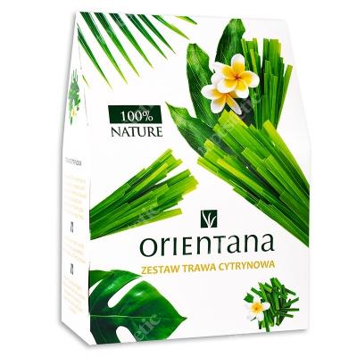 Orientana Trawa Cytrynowa ZESTAW Masło do ciała - Trawa cytrynowa i żywokost 100 g + Balsam do ciała w kostce - Imbir i trawa cytrynowa 60 g + Maska 1 szt