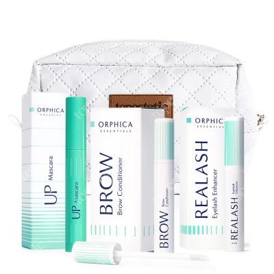 Orphica Beautiful Eye Set ZESTAW Tusz do rzęs 7,5 ml + Odżywka do rzęs 4 ml + Odżywka do brwi 4 ml + kosmetyczka gratis
