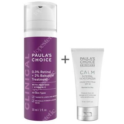 Paulas Choice 0.3% Retinol + 2% Bakuchiol Treatment + Calm Mineral Moisturizer SPF 30 ZESTAW Krem z retinolem o potrójnym działaniu przeciwzmarszkowym 30 ml + Krem nawilżający do skóry normalnej i suchej 15 ml