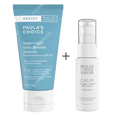 Paulas Choice Calm 1% BHA Lotion Exfoliant + Resist Super Light Daily Wrinkle SPF 30 ZESTAW Balsam złuszczający do skóry wrażliwej 30 ml + Lekki krem nawilżający z filtrem dla skóry tłustej i mieszanej 60 ml