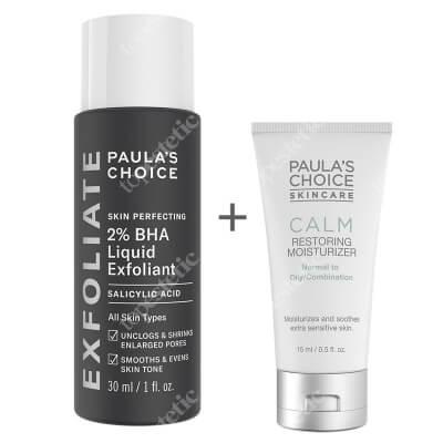 Paulas Choice Calm Redness Relief + Skin Perfecting 2% BHA Liquid ZESTAW Krem nawilżający do skóry normalnej i tłustej 15 ml + Płyn złuszczający z 2% kwasem salicylowym 30 ml