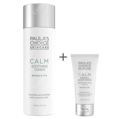 Paulas Choice Calm Soothing Toner + Calm Mineral Moisturizer SPF 30 ZESTAW Tonik łagodzący do skóry normalnej i suchej 118 ml + Krem nawilżający do skóry normalnej i suchej 15 ml