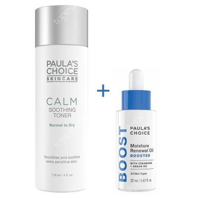 Paulas Choice Calm Soothing Toner + Moisture Renewal Oil Booster ZESTAW Tonik do skóry normalnej i suchej 118 ml + Olejek nawilżający do skóry bardzo suchej 20 ml