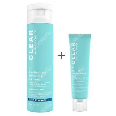 Paulas Choice Clear Anti Redness Exfoliating Solution Extra Strenght + Clear Ultra Light Daily Hydrating Fluid SPF 30 ZESTAW Kuracja złuszczająca do skóry trądzikowej 2% BHA 118 ml + Krem nawilżający do skóry tłustej i trądzikowej 60 ml