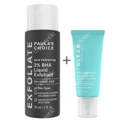 Paulas Choice Clear Ultra Light Daily Hydrating Fluid SPF30 + Skin Perfecting 2% BHA Liquid ZESTAW Krem nawilżający do skóry tłustej i trądzikowej 15 ml + Płyn złuszczający z 2% kwasem salicylowym 30 ml