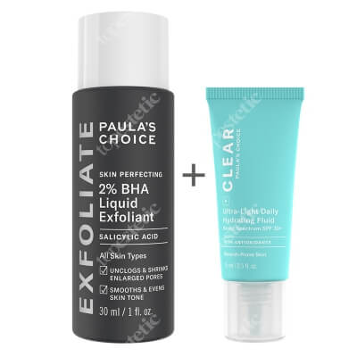 Paulas Choice Clear Ultra Light Daily Hydrating Fluid SPF30 + Skin Perfecting 2% BHA Liquid ZESTAW Krem nawilżający do skóry tłustej i trądzikowej 15 ml + Płyn złuszczający z 2% kwasem salicylowym 30 ml
