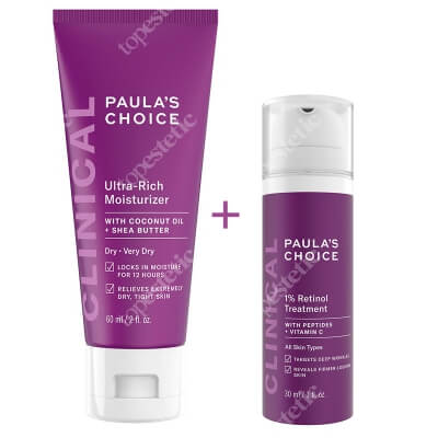 Paulas Choice Clinical 1% Retinol Treatment+ Clinical Ultra Rich Moisturizer ZESTAW Kuracja przeciwstarzeniowa 30 ml + Odżywczy krem nawilżający 60 ml