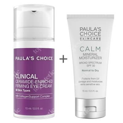 Paulas Choice Clinical Ceramide Enriched Firming Eye Cream + Calm Mineral Moisturizer SPF 30 ZESTAW Odżywczy i ujędrniający krem z ceramidami pod oczy 15 ml + Krem nawilżający do skóry normalnej i suchej 15 ml