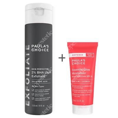 Paulas Choice Defense Essential Glow Moisturizer SPF 30 + Skin Perfecting 2% BHA Liquid ZESTAW Dodający blasku krem z ochroną SPF 30 15 ml + Płyn złuszczający z 2% kwasem salicylowym 118 ml