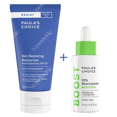 Paulas Choice Resist 10% Niacinamide Booster + Resist Skin Restoring Moisturizer SPF50 ZESTAW Serum z witaminą B3 20 ml + Antyoksydacyjny krem przeciwzmarszczkowy 60 ml
