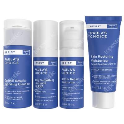 Paulas Choice Resist Anti-Aging Barrier Repair Moisturiser - Travel size ZESTAW Lotion oczyszczający 30 ml + Kuracja wygładzająca 10 ml + Krem 15 ml + Krem 10 ml