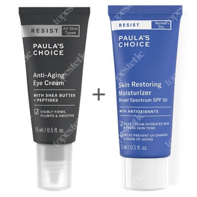Paulas Choice Resist Anti Aging Eye Cream + Resist Skin Restoring Moisturizer SPF 50 ZESTAW Przeciwzmarszczkowy krem pod oczy 15 ml + Antyoksydacyjny krem przeciwzmarszczkowy z filtrem 15 ml
