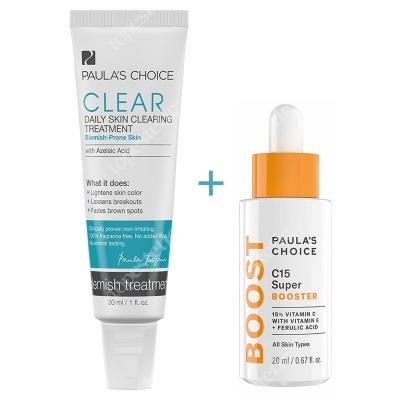 Paulas Choice Resist C15 Super Booster + Clear Daily Skin Clearing ZESTAW Serum z 15% witaminą C, E i kwasem ferulowym 20 ml + Krem z kwasem azelainowym 30 ml