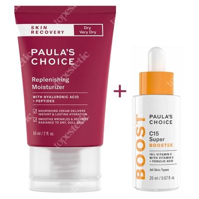 Paulas Choice Resist C15 Super Booster + Skin Recovery Replenishing Moisturizer ZESTAW Serum z 15% witaminą C, E i kwasem ferulowym 20 ml + Krem do skóry suchej 60 ml