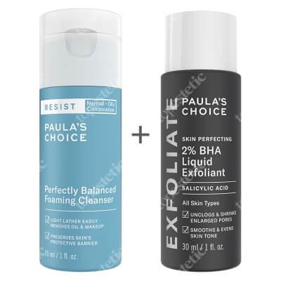 Paulas Choice Resist Perfectly Balanced Foaming Cleanser + Skin Perfecting 2% BHA Liquid ZESTAW Pianka oczyszczająco-normalizująca 30 ml + Płyn złuszczający z 2% kwasem salicylowym 30 ml
