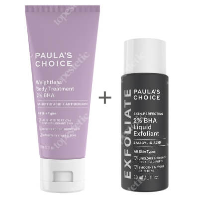 Paulas Choice Resist Weightless Body Treatment 2% BHA + Skin Perfecting 2% BHA Liquid ZESTAW Balsam złuszczający do ciała 60ml + Płyn złuszczający z 2% kwasem salicylowym 30 ml