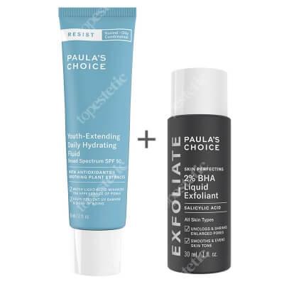 Paulas Choice Resist Youth Extending Daily Hydrating Fluid SPF 50 + Skin Perfecting 2% BHA Liquid ZESTAW Fluid nawilżający do skóry tłustej i mieszanej 60 ml + Płyn złuszczający z 2% kwasem salicylowym 30 ml