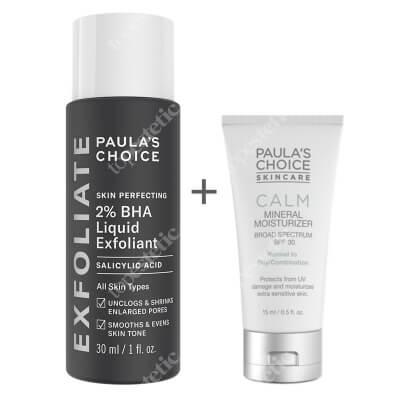 Paulas Choice Skin Perfecting 2% BHA Liquid + Calm Mineral Moisturizer SPF 30 ZESTAW Płyn złuszczający z 2% kwasem salicylowym 30 ml + Krem nawilżający do skóry normalnej i tłustej 15 ml