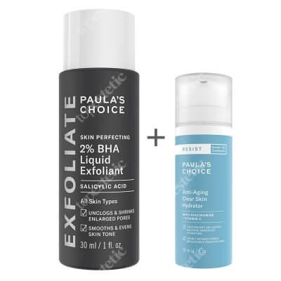 Paulas Choice Skin Perfecting 2% BHA Liquid + Resist Anti Aging Clear Skin Hydrator ZESTAW Płyn złuszczający z 2% kwasem salicylowym 30 ml + Krem nawilżający na noc do skóry tłustej i mieszanej 10 ml