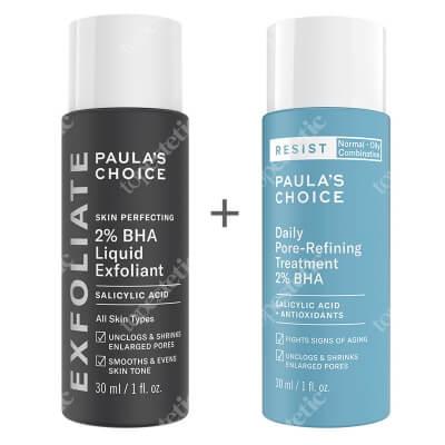 Paulas Choice Skin Perfecting 2% BHA Liquid + Resist Daily Pore Refining 2% BHA ZESTAW Płyn złuszczający z 2% kwasem salicylowym 30 ml + Kuracja normalizująca, zwężająca pory na dzień 30 ml