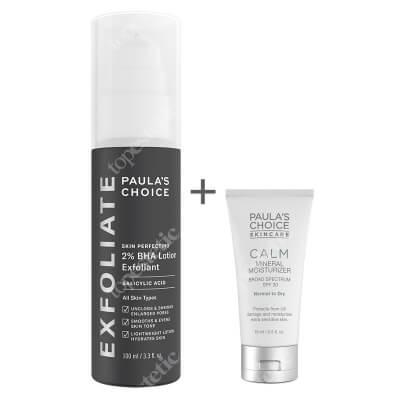 Paulas Choice Skin Perfecting 2% BHA Lotion + Calm Mineral Moisturizer SPF 30 ZESTAW Lotion złuszczający z 2% kwasem salicylowym 100 ml + Krem nawilżający do skóry normalnej i suchej 15 ml