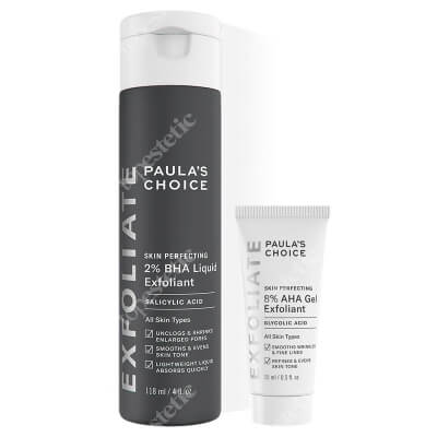 Paulas Choice Skin Perfecting 8% AHA Gel + Skin Perfecting 2% BHA Liquid ZESTAW Żel złuszczający 15 ml + Płyn złuszczający z 2% kwasem salicylowym 118 ml