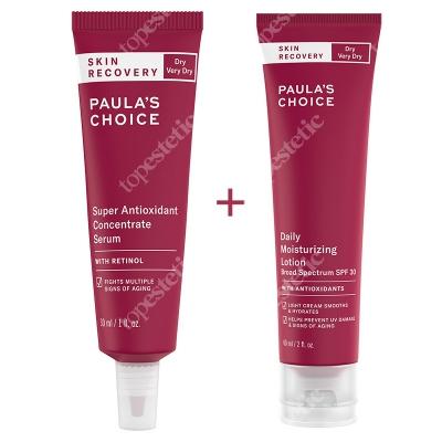 Paulas Choice Skin Recovery Daily Moisturizing Lotion SPF 30 + Skin Recovery Super Antioxidant Serum ZESTAW Krem nawilżający z filtrem 60 ml + Serum z retinolem 30 ml