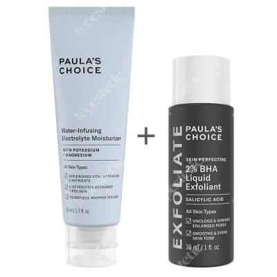 Paulas Choice Water-Infusing Electrolyte Moisturizer + Skin Perfecting 2% BHA Liquid ZESTAW Nawilżający krem elektrolitowy 50 ml + Płyn złuszczający z 2% kwasem salicylowym 30 ml