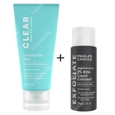 Paulas Choice Zestaw Oczyszczający ZESTAW Płyn eksfoliujący z 2% kwasem salicylowym 30 ml + Glinka oczyszczająca 88 ml