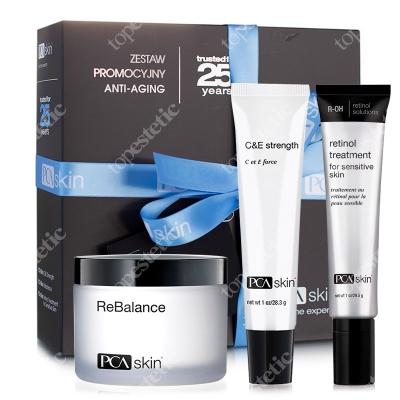 PCA Skin Anti Aging Set ZESTAW Krem z retinolem dla skóry wrażliwej 29,5 ml + Krem z witaminą C i E 28.0 g + Krem 48.2 g