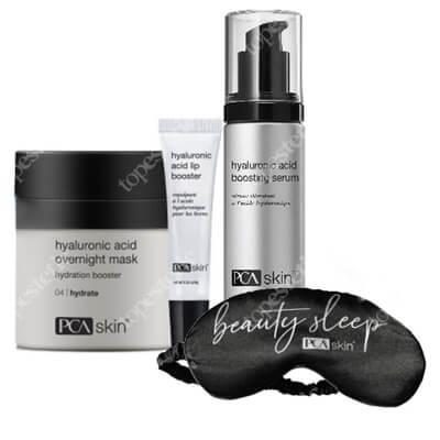 PCA Skin Hyaluronic Set ZESTAW Odmładzająca i nawilżająca maska do stosowania na noc 48 g + Balsam do intensywnej pielęgnacji ust 6 g + Serum 28g + Opaska 1 szt