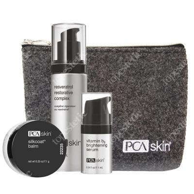 PCA Skin Resveratrol Set 2019 ZESTAW Serum antyoksydacyjne na noc 30 ml + Serum rozjaśniające przebarwienia 28 g + Balsam nawilżający 7 g