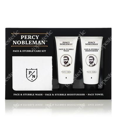 Percy Nobleman Face & Stubble Kit ZESTAW Żel do mycia twarzy 75 ml + Krem do twarzy 75 ml + Ręcznik do twarzy 1 szt.