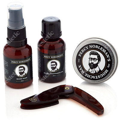 Percy Nobleman Grooming Kit ZESTAW Beard Wash, Beard Conditioning Oil, Moustache Wax, Grzebień