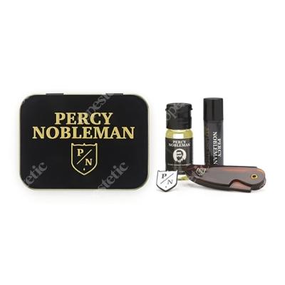 Percy Nobleman Travel Tin ZESTAW Brodacza - Olejek 10 ml + Wosk 5 ml + Grzebień + Przypinka