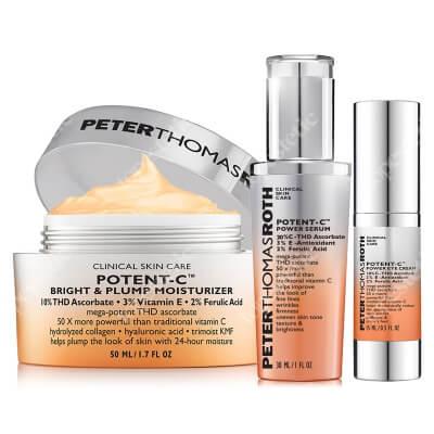 Peter Thomas Roth Potent C Set ZESTAW Serum rozjaśniające 30 ml + Nawilżający krem rozjaśniająco-ujędrniający 50 ml + Rozjaśniający krem pod oczy 15 ml