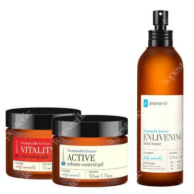 Phenome Active Sebum + Vitality Shine + Enlivening Facial Toner ZESTAW Krem matujący 50 ml + Maseczka 50 ml + Tonik 200 ml