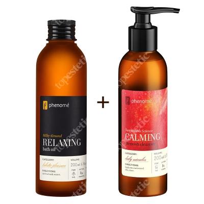Phenome Blemish Cleanser & Relaxing Bath Oil ZESTAW Aksamitny żel do mycia twarzy 200 ml + Migdałowa oliwka do kąpieli 200 ml