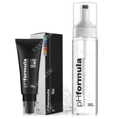 phFormula C.C. Cream SPF 30+ Light + FOAM Cleanse ZESTAW Krem barwiony ochronny z retinolem i witaminą C 50 ml + Pianka myjąca 150 ml