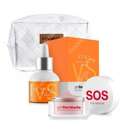 phFormula Vita C Serum + SOS Eye Rescue ZESTAW Aktywne serum na bazie witaminy C 30 ml + Ratowanie oczu SOS 15 ml + Kosmetyczka 1 szt