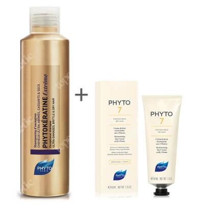 Phyto Phyto 7 + Phytokeratine Extreme Shampoo ZESTAW Nawilżający krem do codziennej pielęgnacji 50 ml + Keratynowy szampon odbudowujący 200 ml