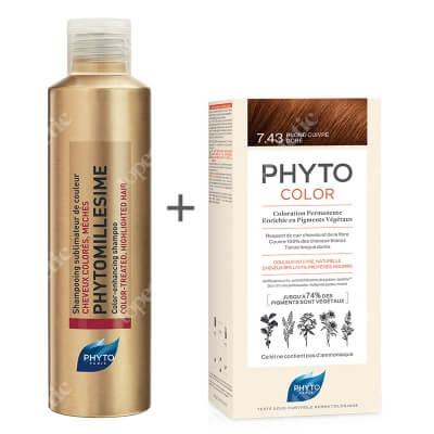 Phyto PhytoColor 7.43 Blond Cuivre Dore + Phytomillesime Shampoo ZESTAW Farba do włosów - miedziany złoty 50+50+12 + Szampon upiększający kolor 200 ml