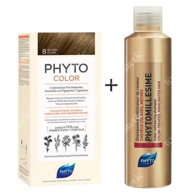 Phyto PhytoColor 8 Blond & Phytomillesime Shampoo ZESTAW Farba do włosów - kolor jasny blond 50+50+12 + Szampon upiększający kolor 200 ml