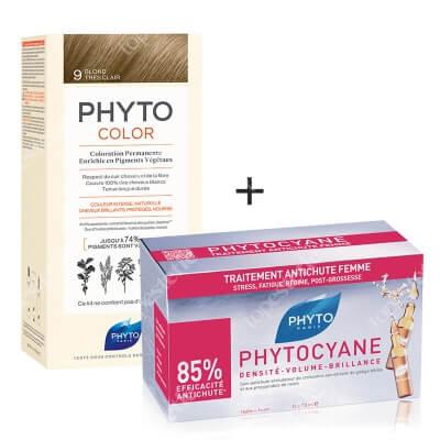 Phyto PhytoColor 9 Blond & Phytocyane ZESTAW Farba do włosów - bardzo jasny blond 50+50+12 + Ampułki przeciw wypadaniu włosów 12x7,5 ml
