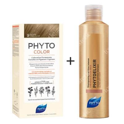Phyto PhytoColor 9 Blond & Phytoelixir Shampoo ZESTAW Farba do włosów - bardzo jasny blond 50+50+12 + Szampon odżywczy 200 ml