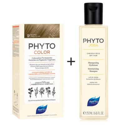 Phyto PhytoColor 9 Blond & Phytojoba ZESTAW Farba do włosów - bardzo jasny blond 50+50+12 + Szampon nawilżający 250 ml