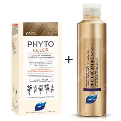 Phyto PhytoColor 9 Blond & Phytokeratine Extreme Shampoo ZESTAW Farba do włosów - bardzo jasny blond 50+50+12 + Keratynowy szampon 200 ml